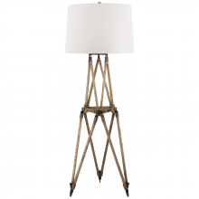 Visual Comfort RL 1716VO-WP - Quincy Floor Lamp in Vintage Oak with White Pape
