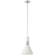 Visual Comfort S 5640PN-WHT - Liam Small Conical Pendant in Polished Nickel wi