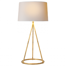 Visual Comfort TOB 3026GI-NP - Nina Tapered Table Lamp in Gilded Iron with Natu