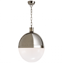 Visual Comfort TOB 5064PN-WG - Hicks Extra Large Pendant in Polished Nickel wit
