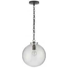 Visual Comfort TOB 5226BZ/G4-SG - Katie Globe Pendant in Bronze with Seeded Glass
